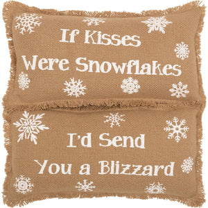 "Snowflake Burlap Pillows 7x13"" - Set of 2"