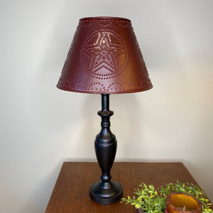 Stonecreek Black Lamp with Burgundy Star Metal Shade