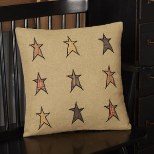 "Stratton Applique Star Burlap Pillow 16"" Filled"