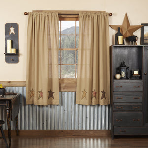 Stratton Burlap Applique Star Short Panel Curtains 63""