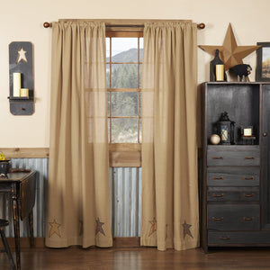 Stratton Burlap Applique Star Panel Curtains 84""