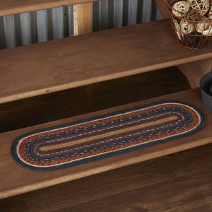 Stratton Oval Braided Stair Tread Latex Backed 8.5x27""