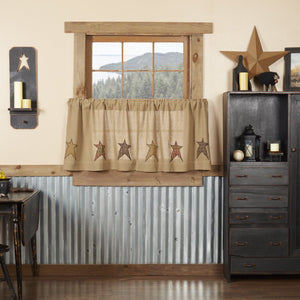 Stratton Burlap Applique Star Tier Curtains 24""