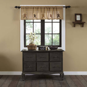 Stratton Burlap Applique Star Valance 60""