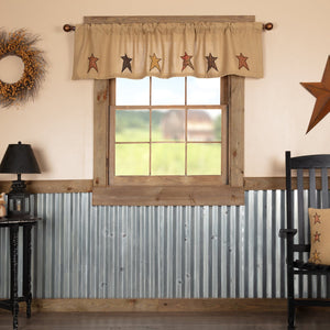 Stratton Burlap Applique Star Valance 72""