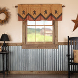 "Stratton Primitive Star Layered Lined Valance 60"" - Primitive Star Quilt Shop"