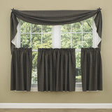 Sturbridge Black Lined Fishtail Swag Curtain - Primitive Star Quilt Shop