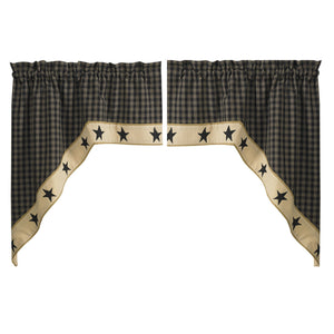 Sturbridge Black Star Lined Swag Curtains