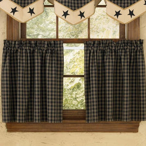 Sturbridge Black Lined Tier Curtains 24""