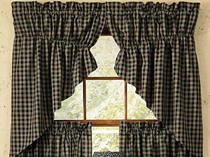 Sturbridge Black Lined Prairie Swag Curtains