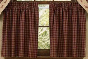 Sturbridge Wine Unlined Tier Curtains 36""
