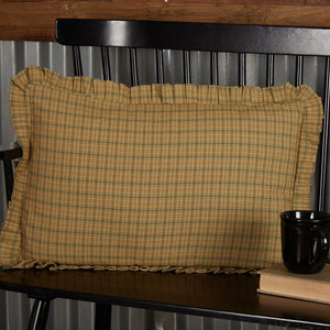 "Tea Star Plaid Fabric Pillow 14x22"" Filled"