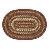 "Tea Cabin Oval Braided Rug 20x30"" - with Pad - Primitive Star Quilt Shop"