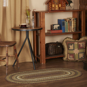 Tea Cabin Oval Braided Rug 27x48""