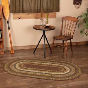 "Tea Cabin Oval Braided Rug 36x60"" - with Pad"