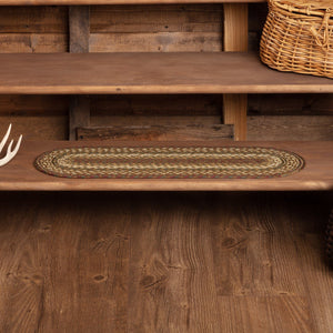 Tea Cabin Oval Braided Stair Tread Latex Backed 8.5x27""