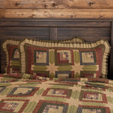 "Tea Cabin Quilted King Sham 21x37"" - Primitive Star Quilt Shop"