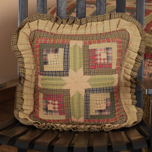 "Tea Cabin Quilted Pillow 16"" Filled"