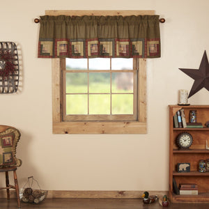 Tea Cabin Log Cabin Block Border Lined Valance 72""