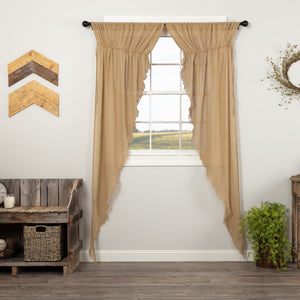 Khaki Fringed Tobacco Cloth Long Prairie Curtains 84""