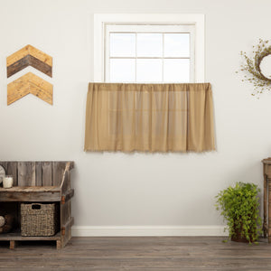 Khaki Fringed Tobacco Cloth Tier Curtains 24""