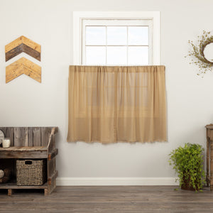 Khaki Fringed Tobacco Cloth Tier Curtains 36""