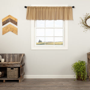 Khaki Fringed Tobacco Cloth Valance 90""
