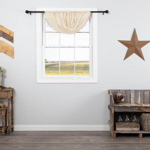 Natural Fringed Tobacco Cloth Balloon Valance