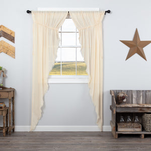 Natural Fringed Tobacco Cloth Long Prairie Curtains 84""