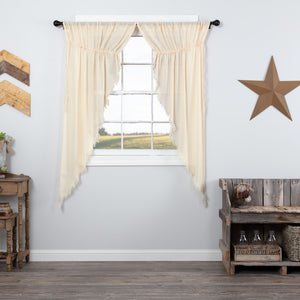 Natural Fringed Tobacco Cloth Prairie Curtains 63""