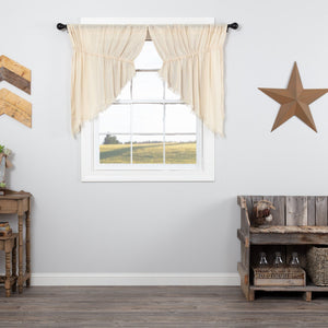 Natural Fringed Tobacco Cloth Prairie Swag Curtains