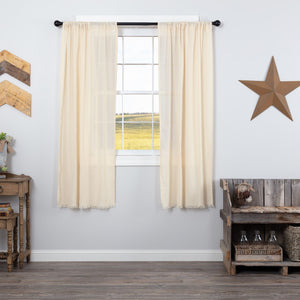 Natural Fringed Tobacco Cloth Short Panel Curtains 63""