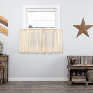 Natural Fringed Tobacco Cloth Tier Curtains 24""