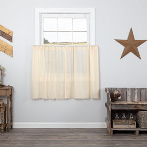 Natural Fringed Tobacco Cloth Tier Curtains 36""