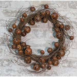 Twig Wreath with Rusty Bells 20""