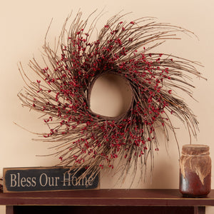 "16"" Twig Wreath with Burgundy Pip Berries"