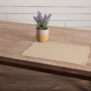 Burlap Vintage Fringed Placemat - Set of 6