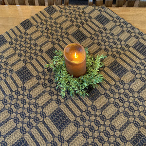 Westbury Black and Mustard Woven Small Table Cloth 34""