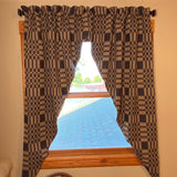 "Westbury Black and Tan Woven Lined Long Swag Curtain 63"" - Primitive Star Quilt Shop"
