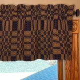 "Westbury Black and Tan Woven Lined Valance 72"" - Primitive Star Quilt Shop"