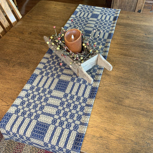 Westbury Navy and Tan Woven Table Runner 56""