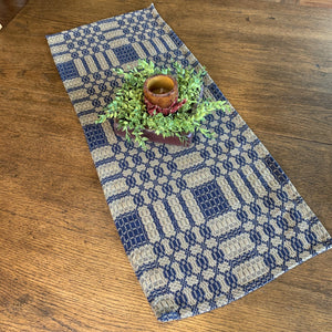 Westbury Navy and Tan Woven Table Runner 32""