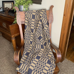 Westbury Navy and Tan Woven Throw