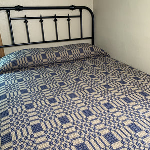 Westbury Navy and Tan Woven Coverlet