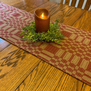 Westbury Cranberry and Tan Woven Table Runner 56""