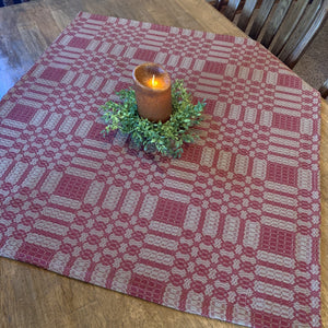 Westbury Cranberry and Tan Woven Small Table Cloth 34""