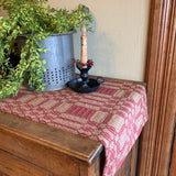 "Westbury Cranberry and Tan Woven Table Runner 32"" - Primitive Star Quilt Shop"