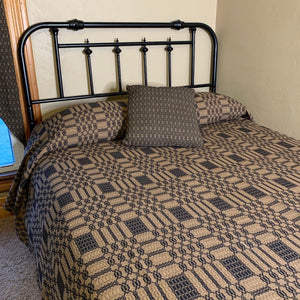 Westbury Black and Tan Woven Coverlet