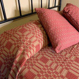 Westbury Cranberry and Tan Woven Coverlet - Primitive Star Quilt Shop