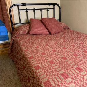 Westbury Cranberry and Tan Woven Coverlet